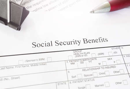 Blank Social Security Benefits application form
