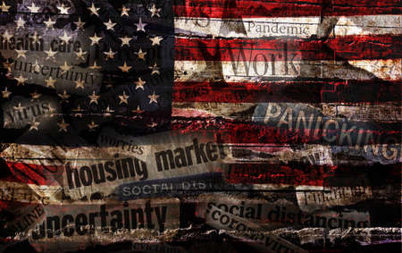Corona Virus and economic related news headlines on US flag background Standard-Bild