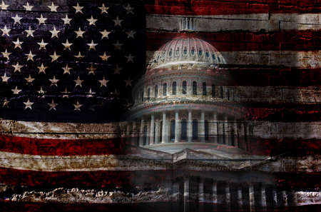 Distressed American flag with the United States capitol building in Washington DC Standard-Bild