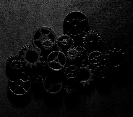 Assorted metal machine gears and components background Standard-Bild