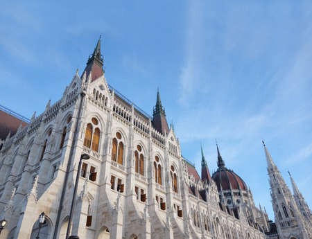 The gothic Parliament building in Budapest Hungary