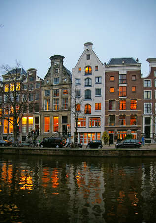 Houses on a canal in Central Amsterdam, The Netherlands