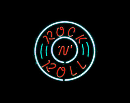 Vintage Rock n Roll neon sign on black background