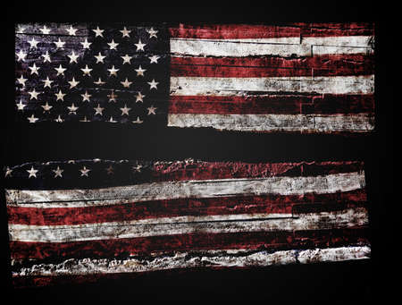 Distressed American flag split in half on black background Standard-Bild