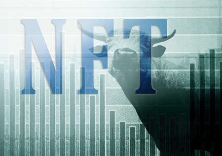 NFT ( Non-Fungible Token --  a blockchain asset) text over a stock market chart and bull
