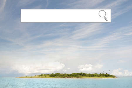 Internet search window with a remote island and blue sky scenery --  travel or vacation booking concept