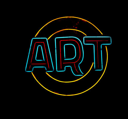 Art neon sign on black background