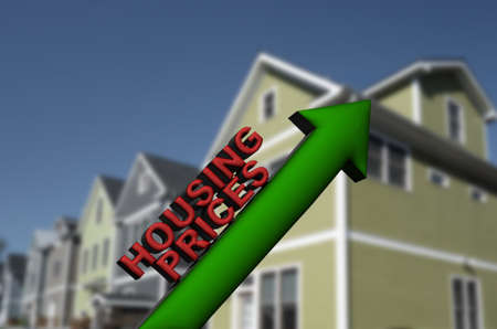 3D illustration Housing Prices text with up arrow and new homes in the background Standard-Bild