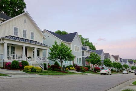 New homes on a quiet street in Raleigh North Carolina