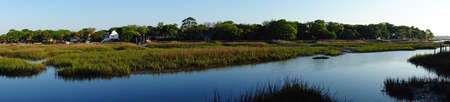 Panorama view of coastal homes along the marsh waterways in the Low Country near Charleston SC Stock fotó