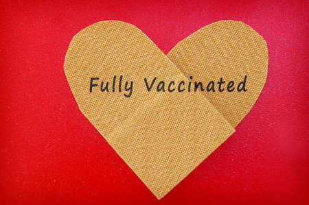 Bandage in a heart shape with Fully Vaccinated text