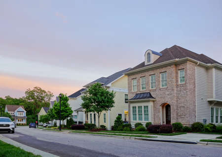 New houses on a quiet street in Raleigh North Carolina Stock fotó
