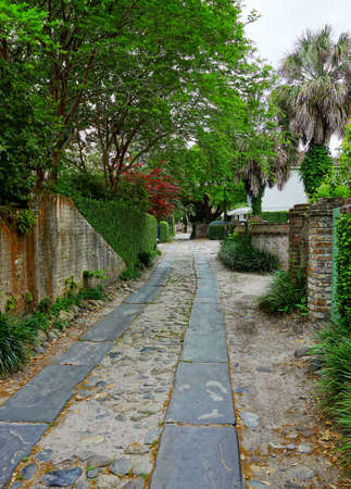 A quiet cobblestone side street with in historic Charleston SC