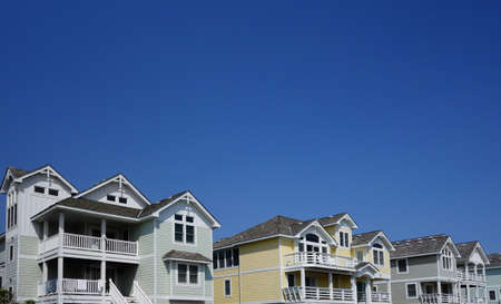 Colorful beach houses in Nags Head on the North Carolina Outer Banks Stock fotó
