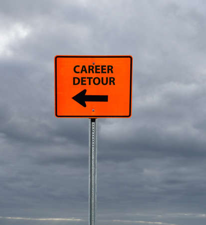 Career Detour construction sign with arrow and cloudy sky background Stock fotó