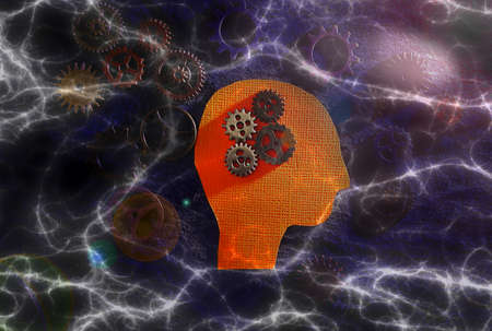 Head figure with gears with electricity background -- science technology or AI machine learning concept