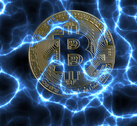 Bitcoin cryptocurrency coin on electric blue energy background Stock fotó