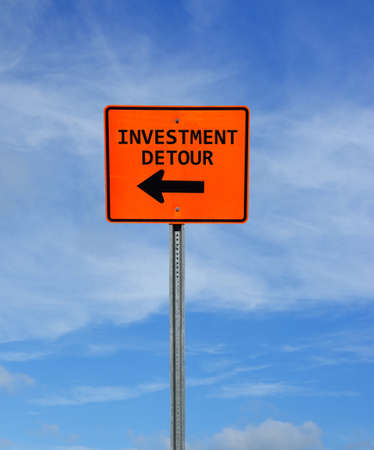 Investment Detour construction sign with arrow and blue sky -- retirement planning and investing concept Stock fotó