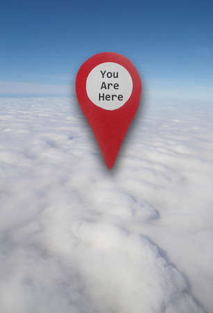 Aerial view of blue sky, clouds and horizon with a You Are Here locator