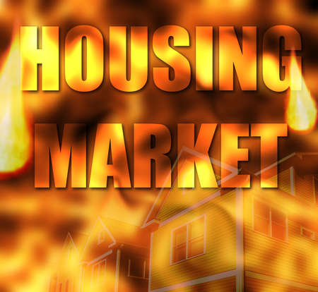 Housing Market text over flames background and homes representing the expensive cost of homes