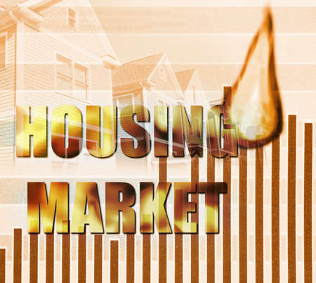 Housing Market flames text with chart and houses representing the expensive cost of homes