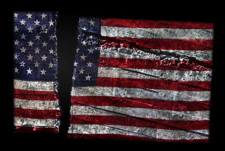 Distressed pattern US flag split in two -- American political division concept
