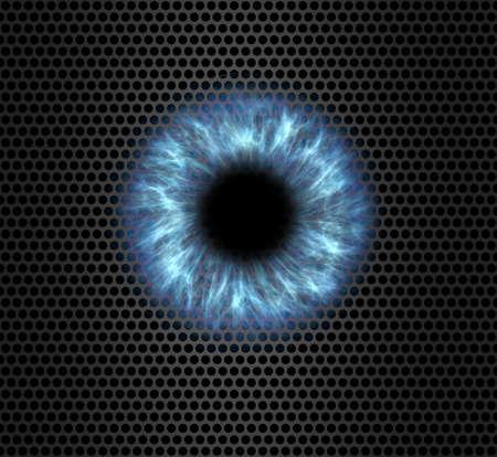 Blue eye illustration on a metal grid pattern background