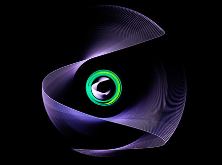 continuum: Purple abstract fractal shape with black background, computer-generated image for logo, design concepts, web, prints, posters. On the subject of education, science and technology Stock Photo