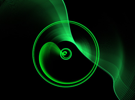 continuum: Green abstract fractal shape with black background, computer-generated image for logo, design concepts, web, prints, posters.