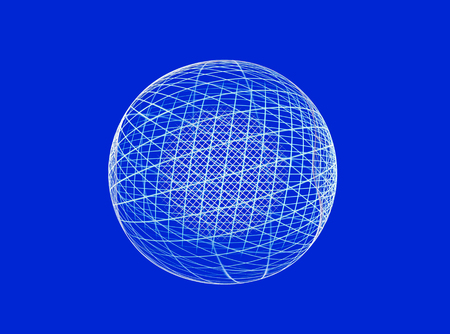 parallels: Abstract fractal globe on blue background for logo, design concepts, web, prints, posters.