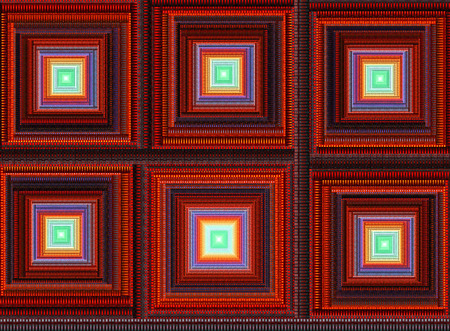 Abstract digital fractal square art on the black background