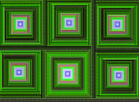 recursive: Abstract digital fractal square art on the black background