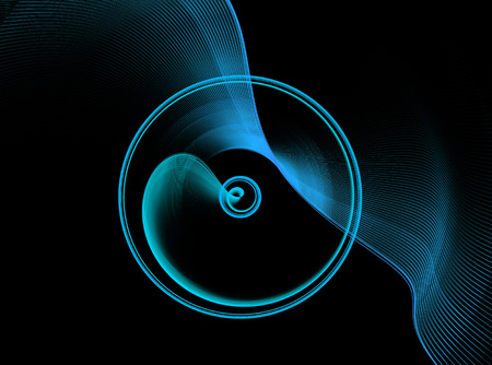 continuum: Blue abstract fractal shape with black background, computer-generated image for logo, design concepts, web, prints, posters.