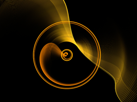 continuum: Gold abstract fractal shape with black background, computer-generated image for logo, design concepts, web, prints, posters. Stock Photo