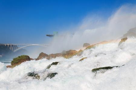 american falls: Rainbows at Niagara Falls, American Falls, New York State, USA Stock Photo