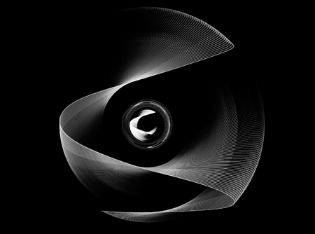 curvature: Abstract fractal shape with black background