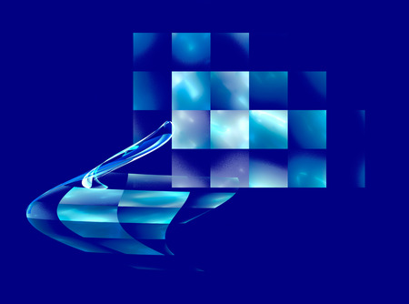 checkered background: Abstract fractal blue checkered background Stock Photo