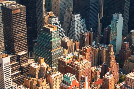 aerial: New York City Manhattan skyline aerial view with skyscrapers and street. Stock Photo