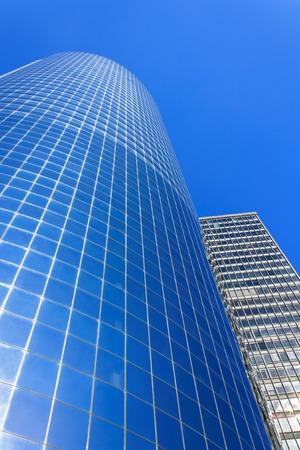 newyork: Blue skyscraper on sky background in Manhattan, New-York, USA