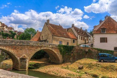 Bridge in picturesque medieval town of Semur en Auxois, Burgundy, France Stock Photo