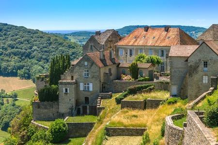 jura: Picturesque medieval village in valley. Chalon, Departement Jura, Franche-Comte, France
