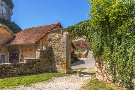 Picturesque medieval village Chateau-Chalon. Chalon, Departement Jura, Franche-Comte, France