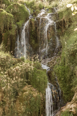 jura: Beautiful waterfall, cascade in valley Chateau-Chalon. Chalon, Departement Jura, Franche-Comte, France