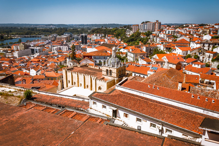 Aerial view of old Coimbra in a summer day, Portugal