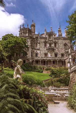 quinta: Quinta da Regaleira in Sintra, Portugal. It is a complex of buildings built in the romantic style. In the palace and the park are hidden symbols related to Masonry. It is UNESCO World Heritage Site. Editorial