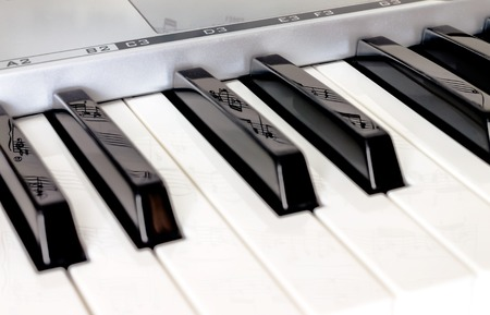 Piano keys side view with shallow depth of field and reflection notes on the keys