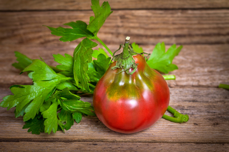 Tomato breed Wine Jug with parsley on wooden bachground