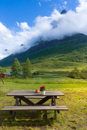 Relaxing Point in the mountain Innerdalen valley Stock Photo