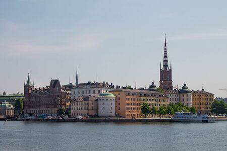 Scenic panorama of the Old Town in Stockholm, Sweden Stock Photo
