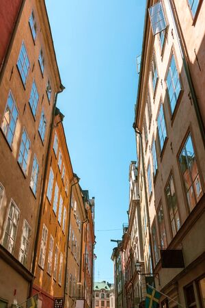Narrow streets and colourful buildings in Stockholm